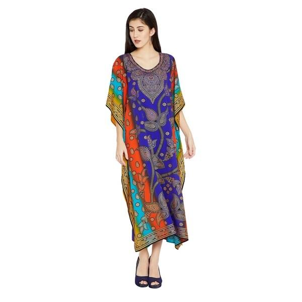 035ffb6944 Shop Multicolor Kaftan Dress Women Paisley Print Plus Size Beachwear ...