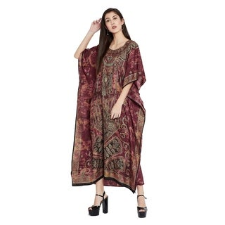 Burgundy Kaftan Dresses Women Ladies Caftan Paisley Printed Plus Size