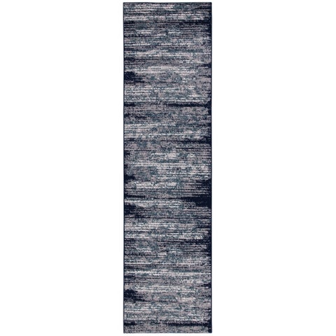 "Jasmin Collection Stripes Area Rug Navy / Ivory / Teal - 2'7"" x 9'10"""
