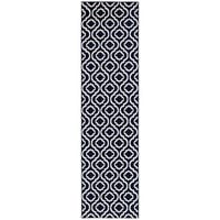 "Jasmin Collection Moroccan Trellis Area Rug Navy / Ivory - 2'7"" x 9'10"""
