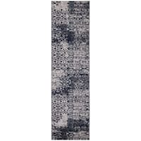 "Jasmin Collection Floral Area Rug Ivory / Navy / Gray - 2'7"" x 9'10"""