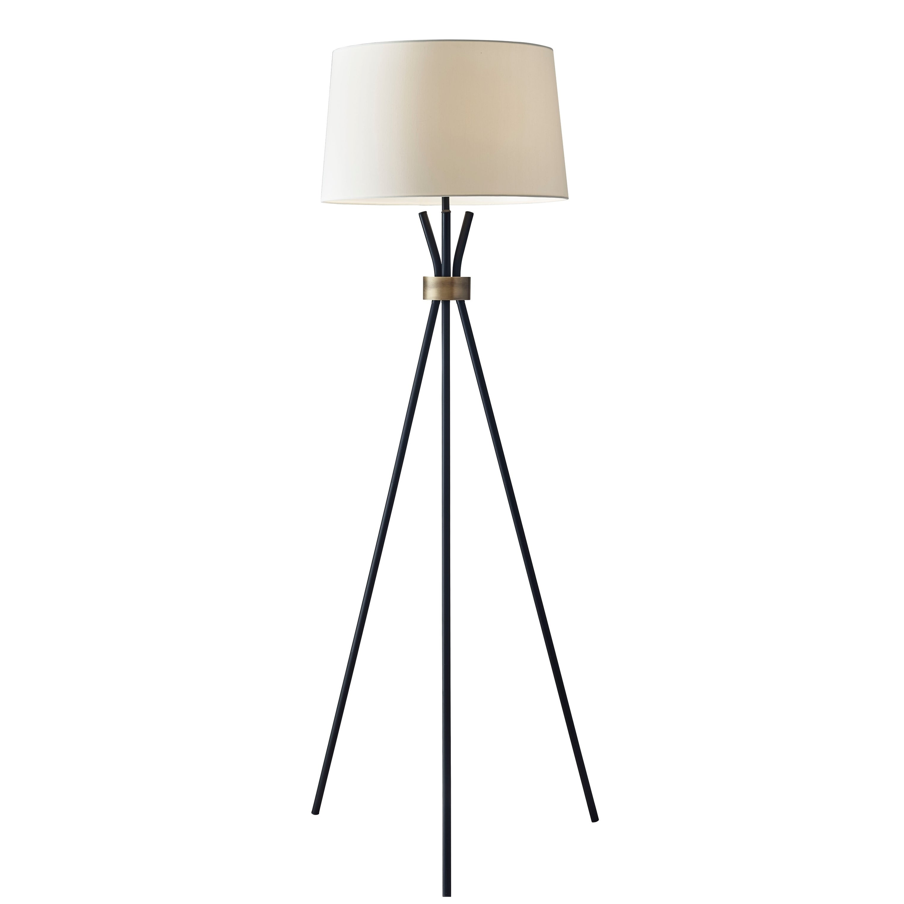 Image of: Shop Black Friday Deals On Adesso Benson Black With Antique Bronze Tripod Floor Lamp Overstock 23034024