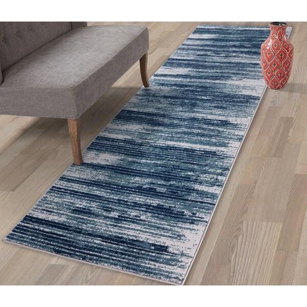 Shop Jasmin Collection Stripes Area Rug Teal / Navy / Gray
