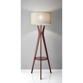Adesso Bedford Solid Walnut Wood Tripod Shelf Floor Lamp