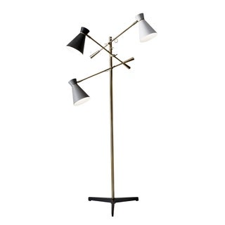 Adesso Lyle Black and Antique Brass 3-Arm Floor Lamp