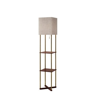Adesso Harrison Antique Brass and Walnut Wood Shelf Floor Lamp