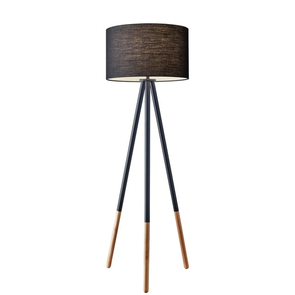 Shop Adesso Louise Black Painted Metal Tripod Floor Lamp