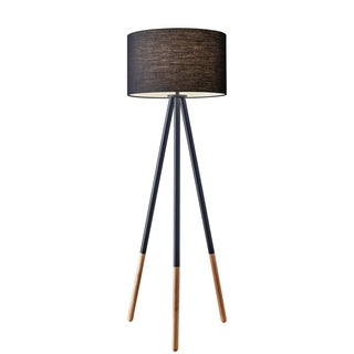 Adesso Louise Black Painted Metal Tripod Floor Lamp