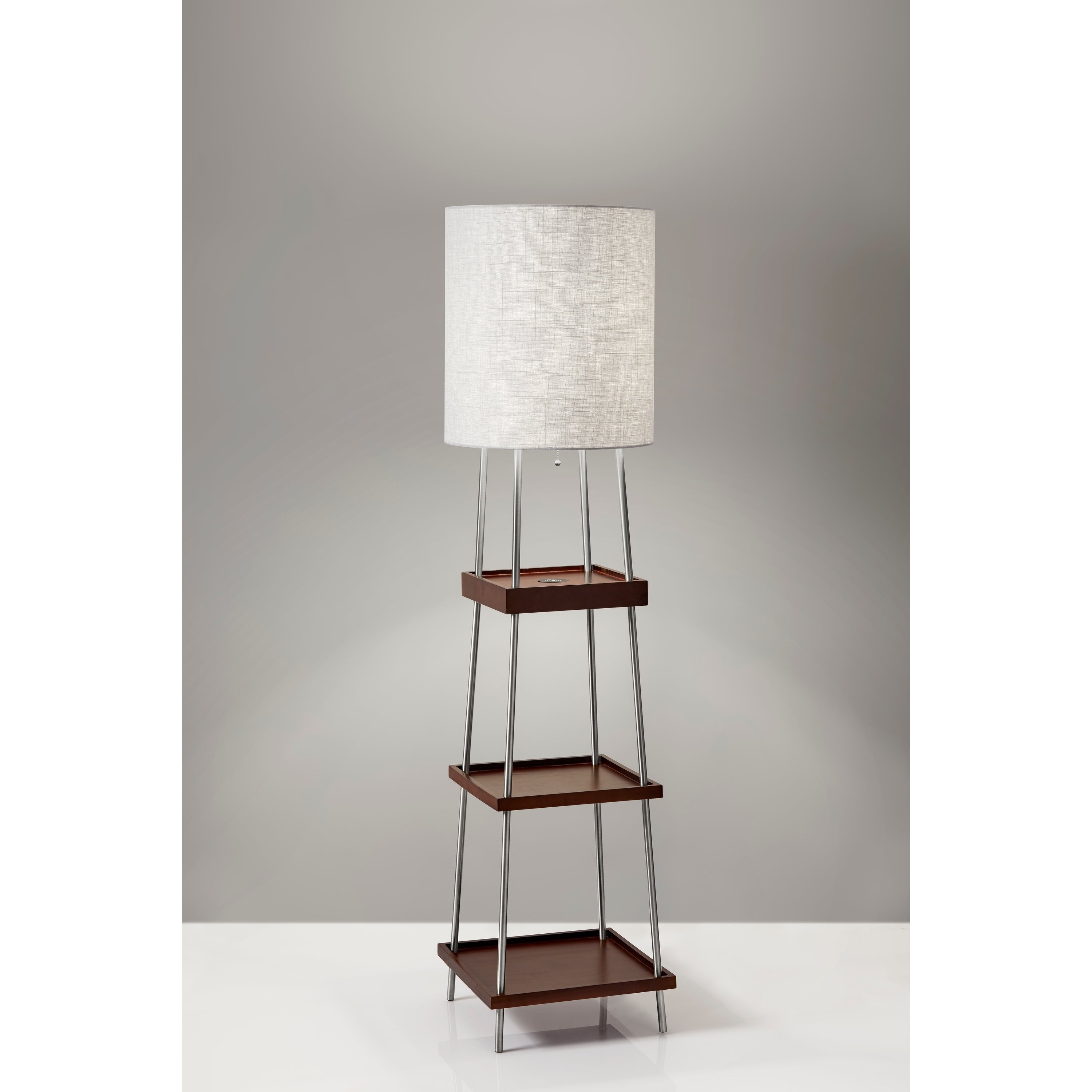 Image of: Shop Black Friday Deals On Adesso Henry Brushed Steel And Walnut Poplar Wood Shelf Floor Lamp With Adessocharge Wireless Charging Pad Overstock 23034068