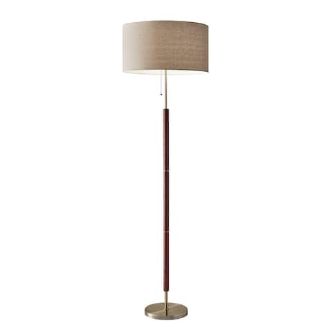 Adesso Hamilton Walnut And Antique Br Floor Lamp