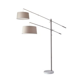 Adesso Manhattan Brushed Steel and White Marble Two-Arm Arc Lamp