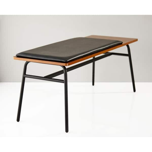 Fine Shop Adesso Walnut And Matte Black Carter Entryway Bench Caraccident5 Cool Chair Designs And Ideas Caraccident5Info
