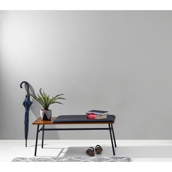Terrific Shop Adesso Walnut And Matte Black Carter Entryway Bench Caraccident5 Cool Chair Designs And Ideas Caraccident5Info
