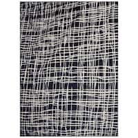 Jasmin Collection Abstract Stripes Navy / Ivory Area Rug - 7'10 x 9'10