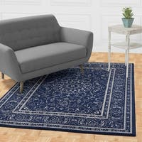 "Jasmin Collection Persian Medallion Navy / Ivory Area Rug - 7'10"" x 9'10"""