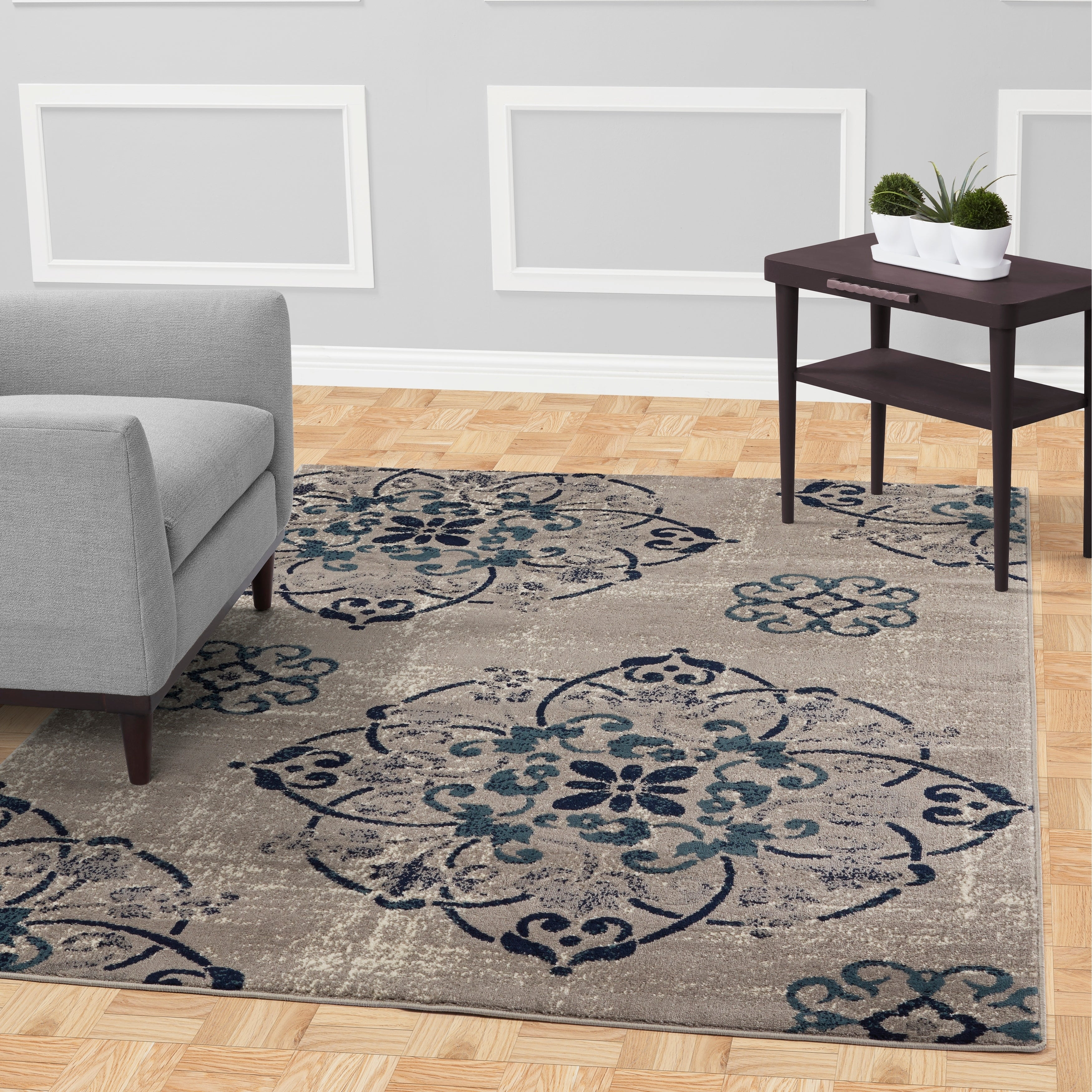 Shop jasmin collection floral medallion gray navy teal ivory area rug 67 x 93 free shipping today overstock 23035178