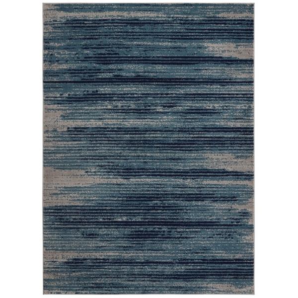 Shop Jasmin Collection Stripes Teal / Navy / Gray Area Rug