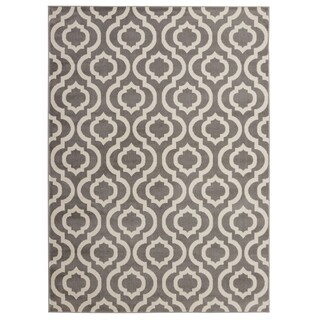 "Jasmin Collection Moroccan Trellis Gray / Ivory Area Rug - 6'7"" x 9'3"""