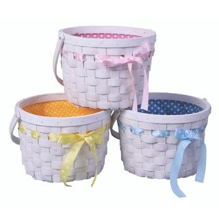 Set of 3 White Painted Lined Wooden Easter Gift Baskets, Bright Bows