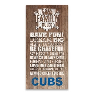 Chicago Cubs Family Rules Icon Wood Printed Canvas - 18W x 36H x 1.25D - Multi-color