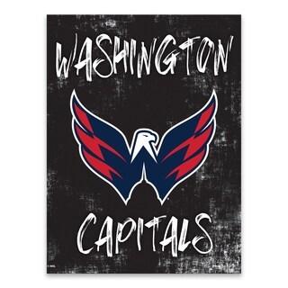 Washington Capitals Grunge Printed Canvas - 18W x 24H x 1.25D