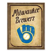 Milwaukee Brewers Vintage Card Recessed Box - 16W x 20H x 1.25D