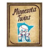 Minnesota Twins Vintage Card Recessed Box - 16W x 20H x 1.25D