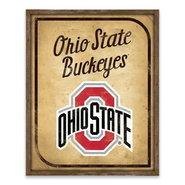 Ohio State Buckeyes Vintage Card Recessed Box - 16W x 20H x 1.25D
