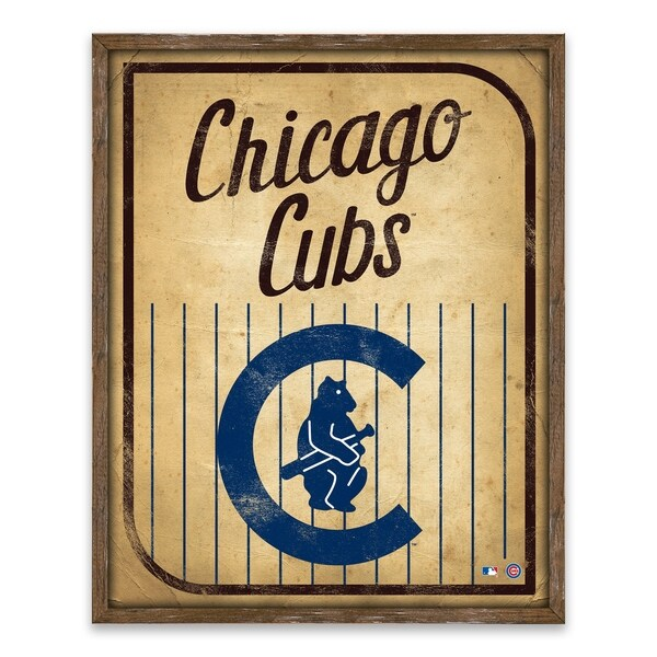 Chicago Cubs Vintage Card Recessed Box - 16W x 20H x 1.25D - Multi-color