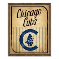 Chicago Cubs Vintage Card Recessed Box - 16W x 20H x 1.25D