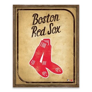 Boston Red Sox Vintage Card Recessed Box - 16W x 20H x 1.25D - Multi-color