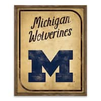 Michigan Wolverines Vintage Card Recessed Box - 16W x 20H x 1.25D