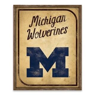 Michigan Wolverines Vintage Card Recessed Box - 16W x 20H x 1.25D