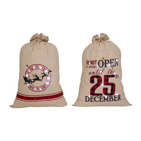 """Glitzhome Set of 2 36""""H Lighted Burlap Gift Sack with Wordings"""