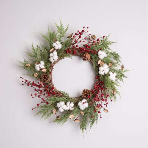 "Glitzhome Christmas 22""D Cotton Berries Wreath"