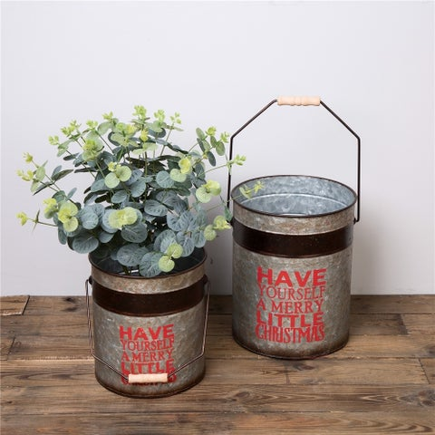 Glitzhome Set of 2 Farmhouse Galvanized Metal Planters