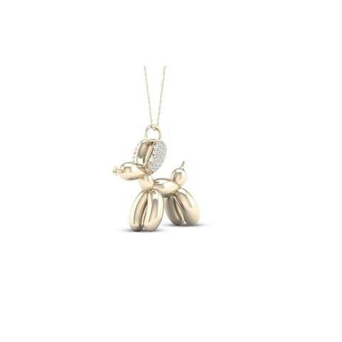 Sterling Silver 1/10ct Diamond Charm Animal Pendant- Dog and Elephant
