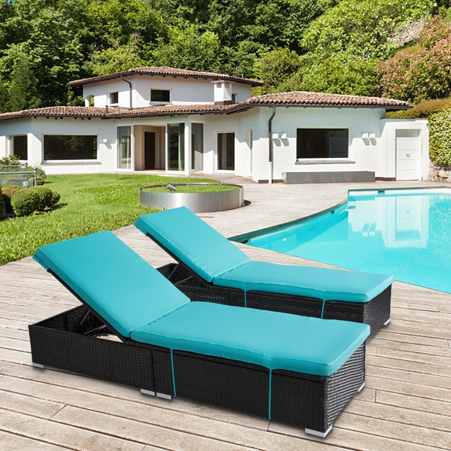 Kinbor 3PCs Outdoor Adjustable Chaise Lounge Chair Set All Weather PE  Rattan Wicker Chaise Lounge
