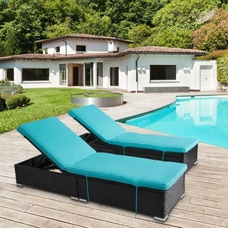 Kinbor Outdoor Adjustable Chaise Lounge Chair Set All-weather PE Rattan Wicker Chaise Lounge Chair Set w/Cushions, Table