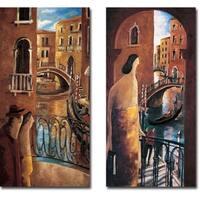 Puente in Venecia and Balcon en Venecia by Didier Lourenco 2-piece Gallery Wrapped Canvas Giclee Set