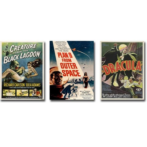 Vintage Horror Movie Poster 3-piece Gallery Wrapped Canvas Giclee Art Collection Set