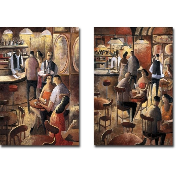 Entre Copas (Between Glasses) and Café Y by Didier Lourenco 2-piece Gallery Wrapped Canvas Giclee Art Set
