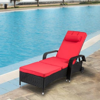 Kinbor Outdoor Wicker Chaise Lounge Chair All-weather PE Rattan Adjustable Chaise Lounge Recliner Lounger w/Cushions