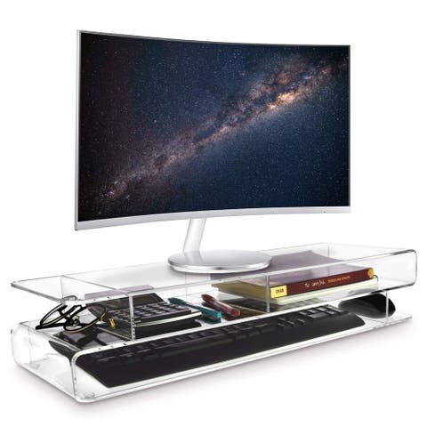 Acrylic Monitor Storage Riser Desk & Countertop Stand