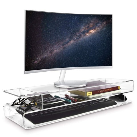Ikee Design Acrylic Monitor 3-Tier Storage Riser Stand for Desk & Countertop with 3 Compartments
