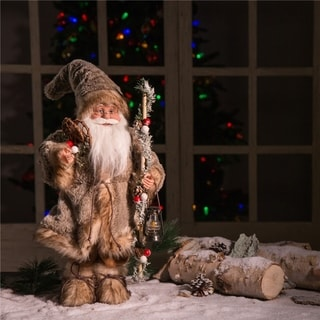 Link to Glitzhome Christmas Faux Fur Santa Figurine Similar Items in Christmas Decorations
