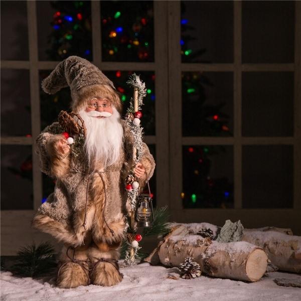 Glitzhome Christmas Faux Fur Santa Figurine. Opens flyout.