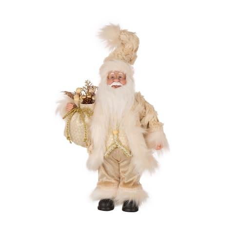 Glitzhome Christmas Faux Fur Santa Figurine