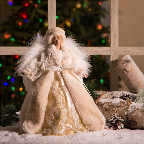 "Glitzhome 12""H Christmas Angel Tree Top"