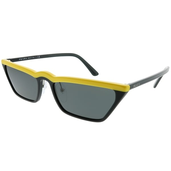 76312399854d2 Prada Cat-Eye PR 19US W195S0 Women Yellow Black Frame Grey Lens Sunglasses